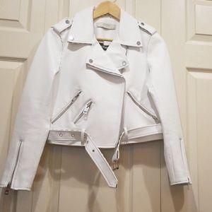 ZARA BASIC White Faux Leather Moto Jacket